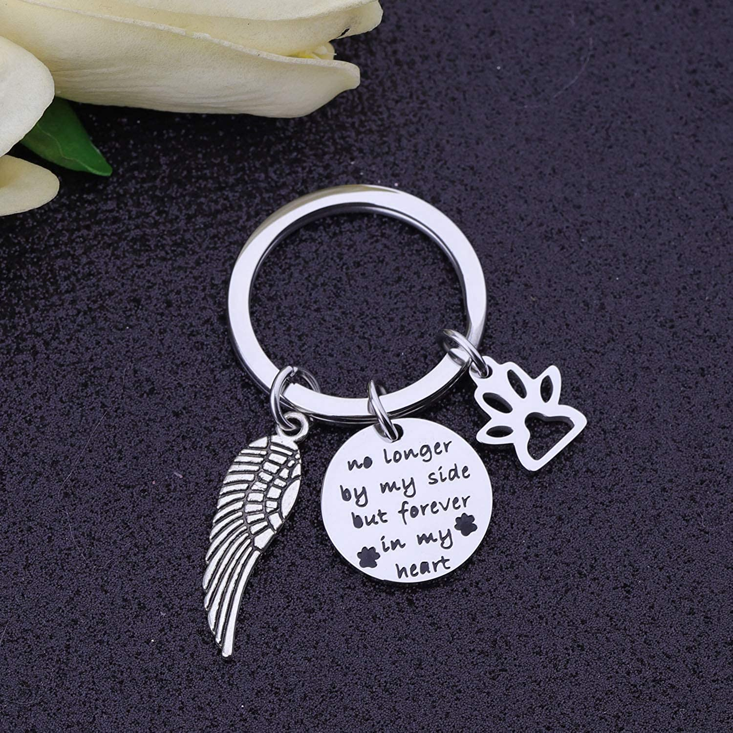 bobauna Pet Memorial Gift No Longer by My Side But Forever in My Heart Bracelet with Paw Print Angel Wing Charms in Memory of Pet