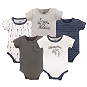 Yoga Sprout Unisex Baby Cotton Bodysuits, Dreamer Short Sleeve 5 Pack, 6-9 Months (9M)