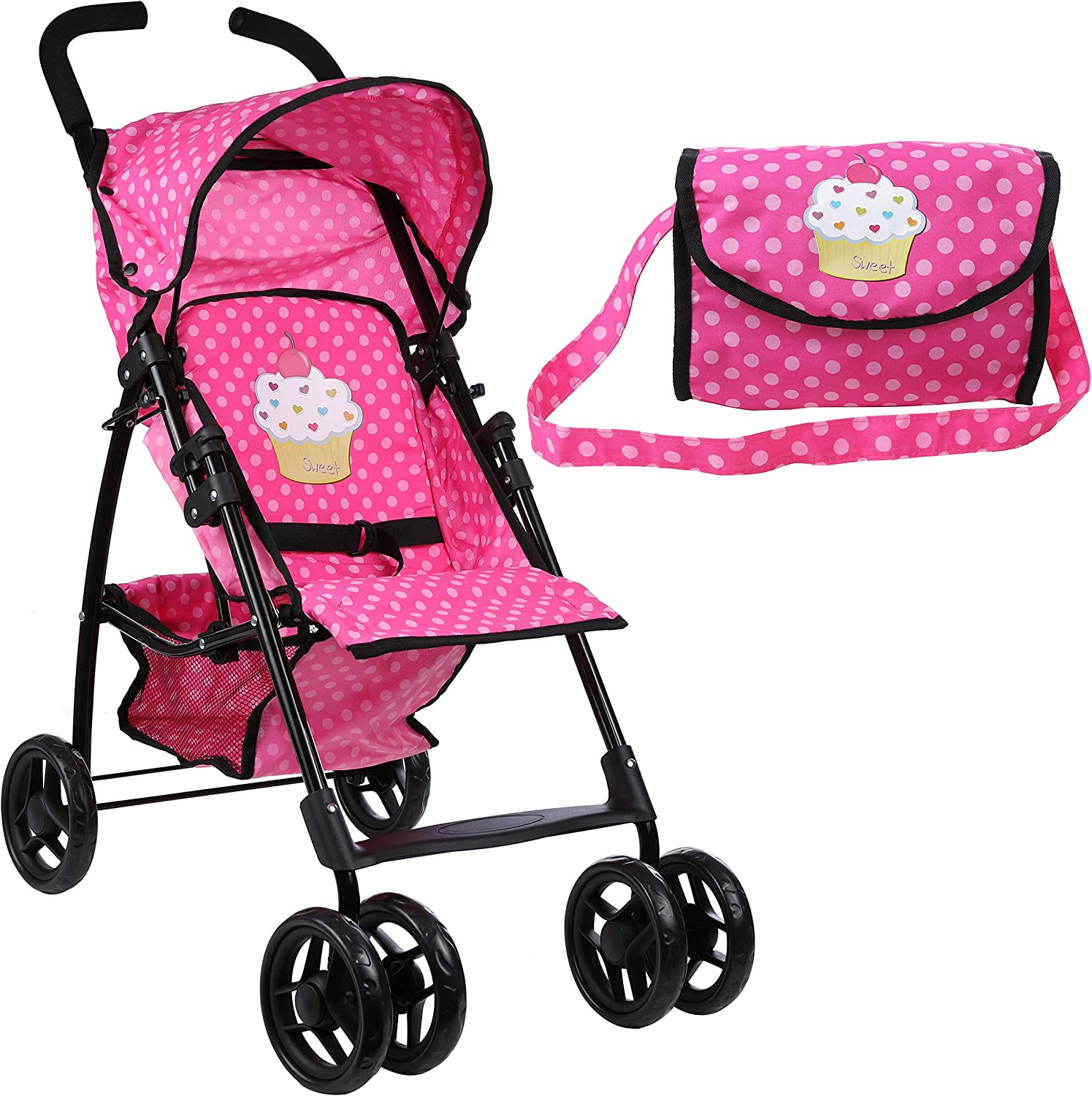 Mommy & Me Doll Stroller Foldable Umbrella Doll Stroller with Basket, Swiveling Wheels and Free Carriage Bag 9351A Cupcake
