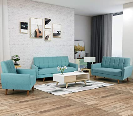 Harper & Bright Designs Living Room Sofa Set 3-Seat Sofa Loveseat Chair  Sectional Sofa Upholstered Living Room Fabric Couch (Blue)
