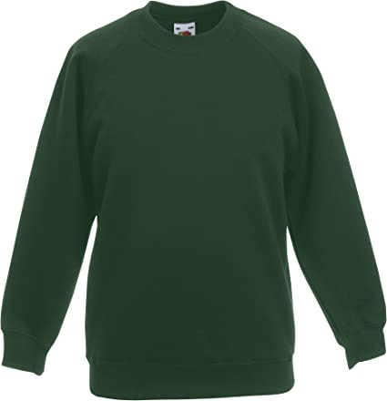 Manufacturer size: 152cm//34 Fruit Of The Loom Boys Kids Raglan Sweatshirt Bottle Green 12-13 Years