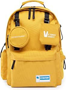 Backpack for Women Men, 14-15 Inch Water Resistant Travel Laptop Backpacks Computer Stylish Bag College School Student Gift, Bookbag Casual Hiking Daypack, Yellow