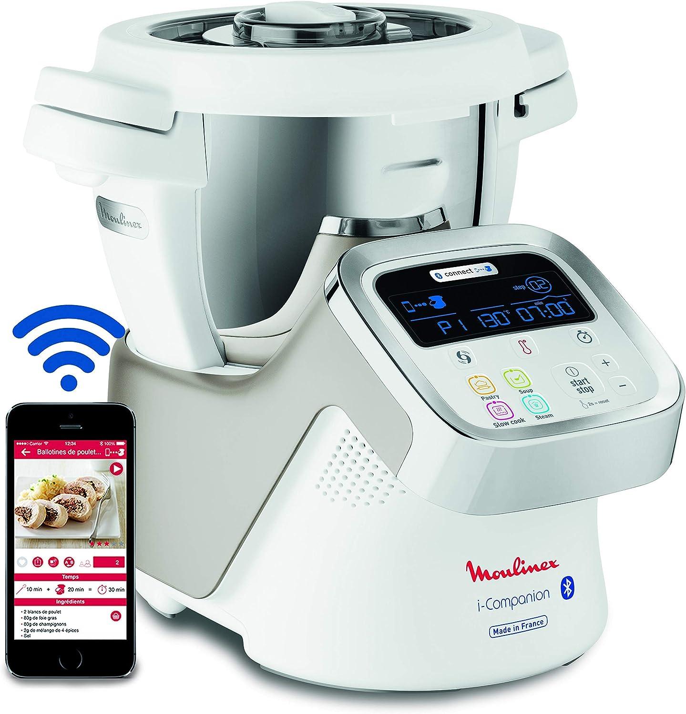 Moulinex i-Companion HF900110 - Robot de cocina Bluetooth 13 programas y 6 accesorios capacidad 6 personas, incluye cuchilla picadora, batidor, mezclador, amasador, triturador y cesta de vapor (Reacondicionado): Amazon.es: Hogar