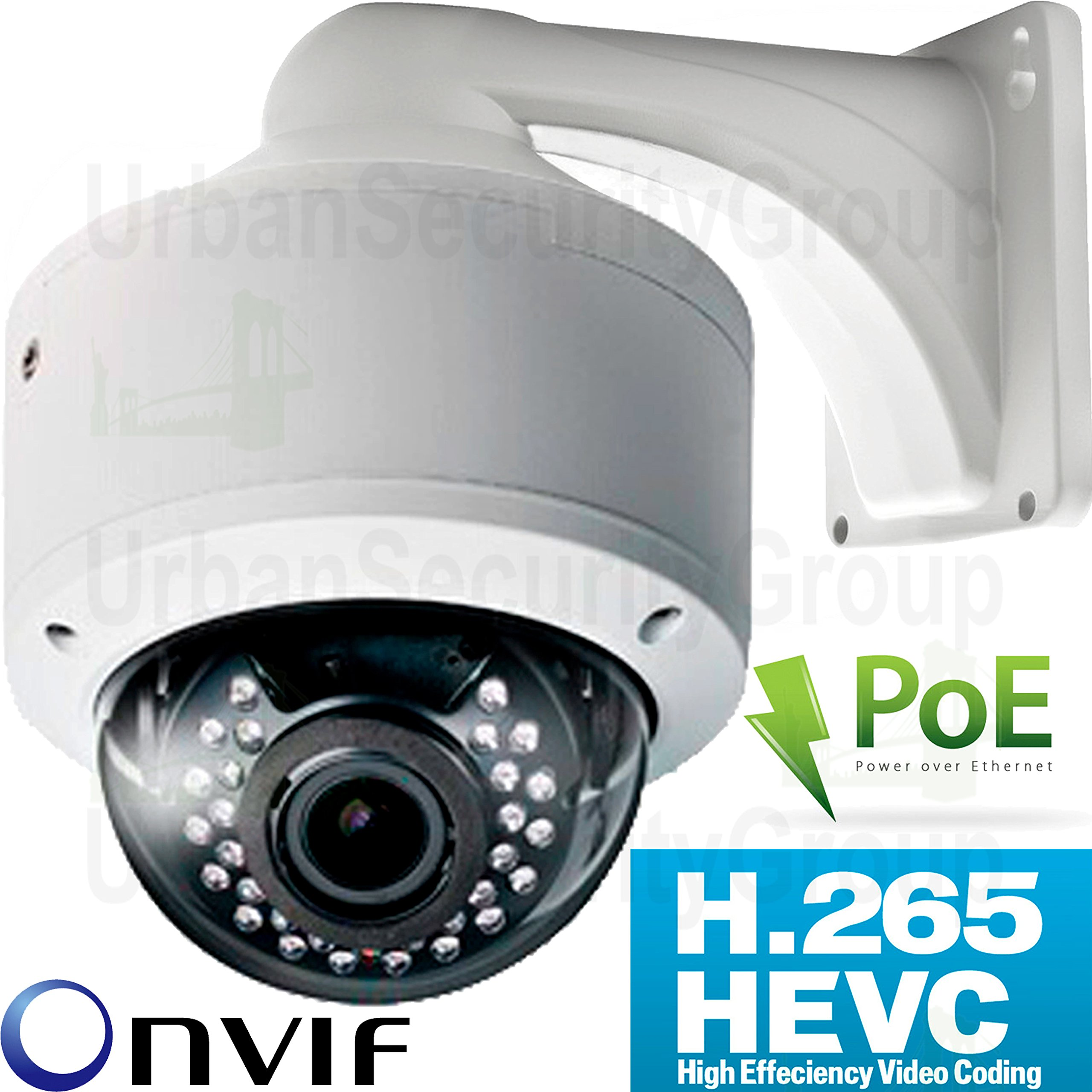 USG 4MP H.265 IP Dome Security Camera With Audio 2592x1520, 5MP 2.8-12mm HD Lens, PoE, 30x IR LEDs, Vandal & Weatherproof, ONVIF 2.4, View On Phone + Computer + NVR Business Grade IP CCTV
