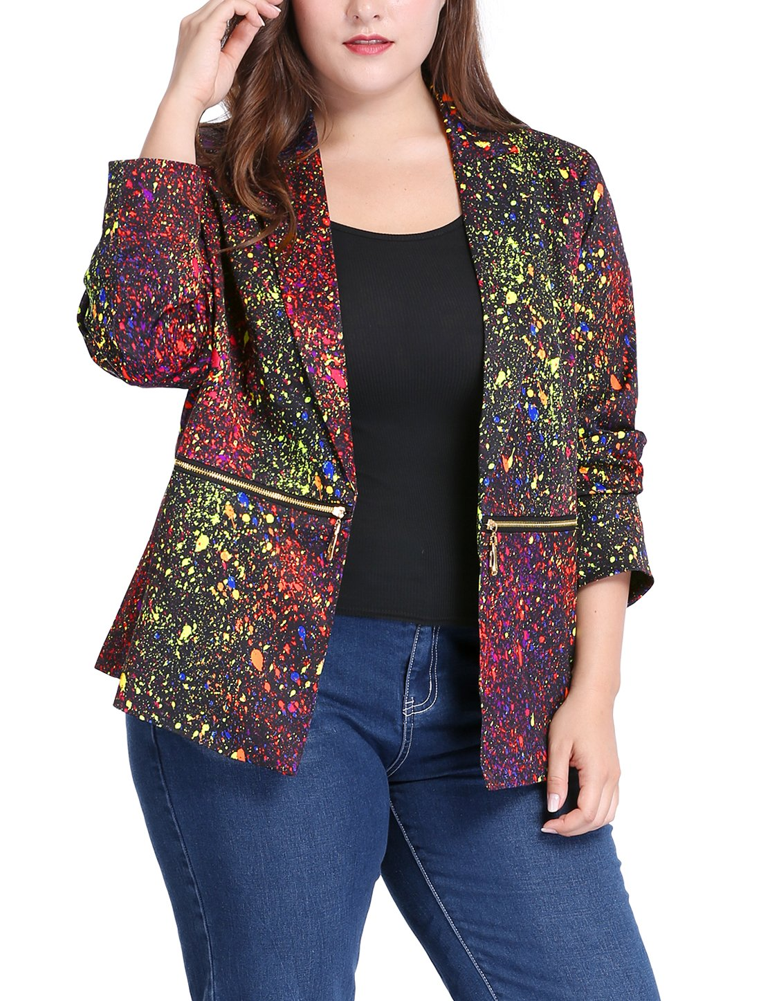 uxcell Women's Plus Size Zipper Long Sleeve Paint Splatter Printed Blazer 1X Black