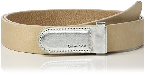 Calvin Klein Metallic Leather Buckle Belt, Cinturón Para Mujer
