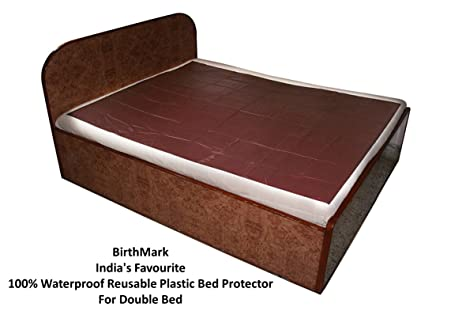 BirthMark Baby/Adult Double Bed Waterproof Plastic Mattress Protection Sheet  (Brown, 6.25 X