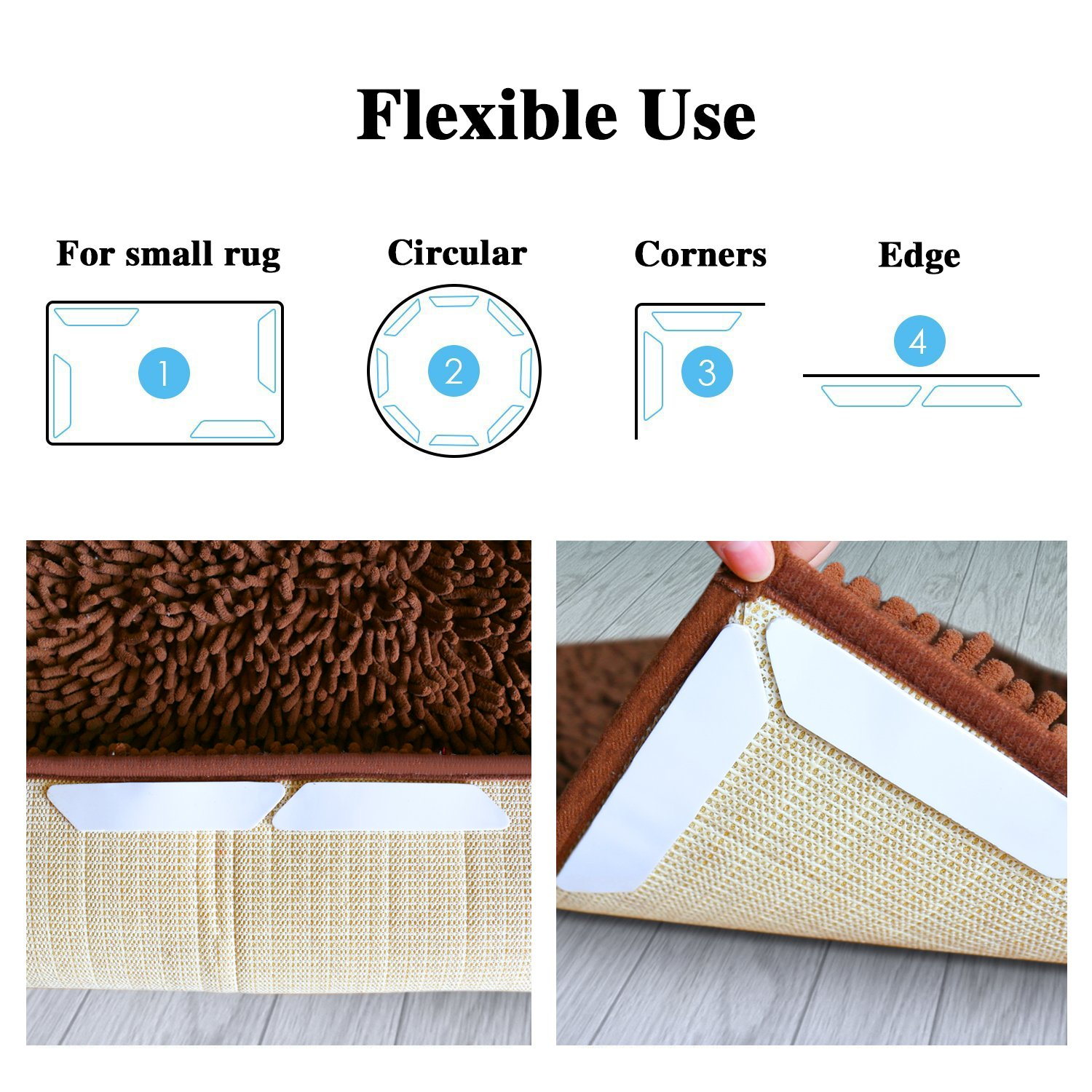 16 PCS Rug Gripper, Double Side Anti Curling & Non Slip Rug Gripper Keep Carpet Tape Stop Slipping for Outdoor / Bath / Kitchen / Round / Corner / Hardwood Floor Carpet Pads - White by drtulz (Image #3)