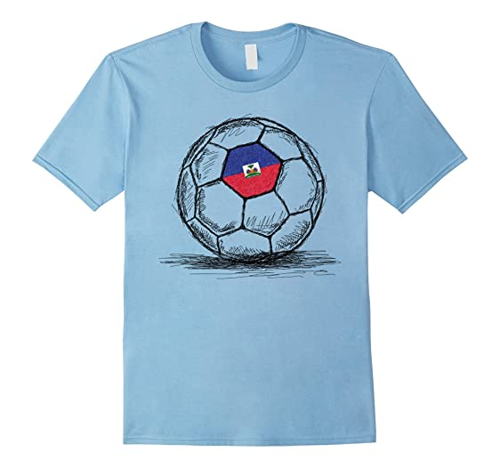 Mens Haiti Haitian Flag Design On Soccer Ball Jersey T-Shirt 2XL Baby Blue