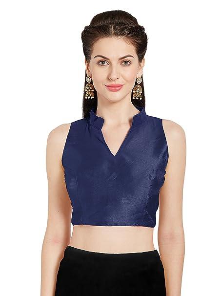 f14c7d58dd9263 Women s Navy Blue Art Silk Readymade Party Saree Blouse Chinese Collar  Sleeveless Choli Mirchi Fashion Top