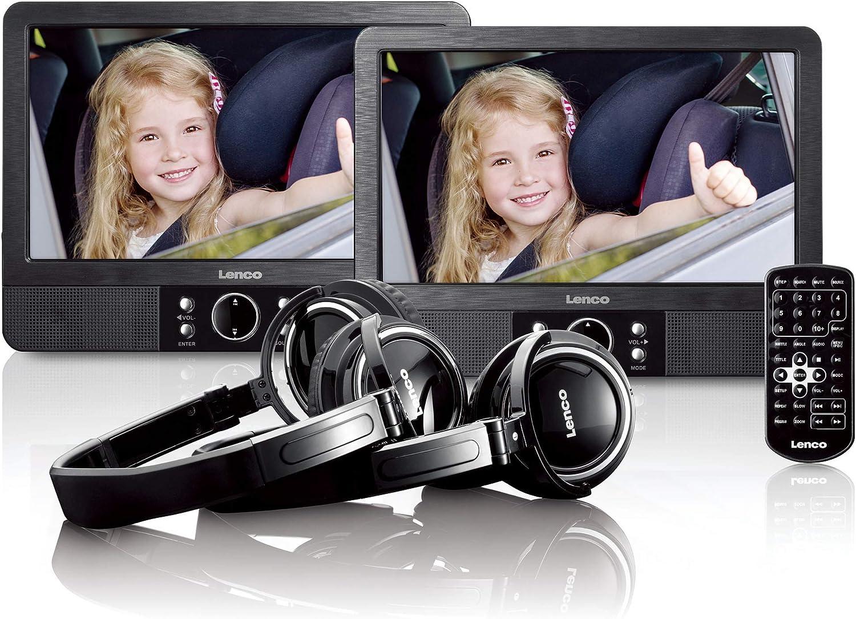Lenco 9 Zoll Tragbarer Dvd Player Mes 415 Mit Doppel Bildschirm Usb Und Sd Anschluss 12 Volt Kfz Adapter Fernbedienung 2 X Kopfstützenbefestigung 2 X Kopfhörer Schwarz Audio Hifi