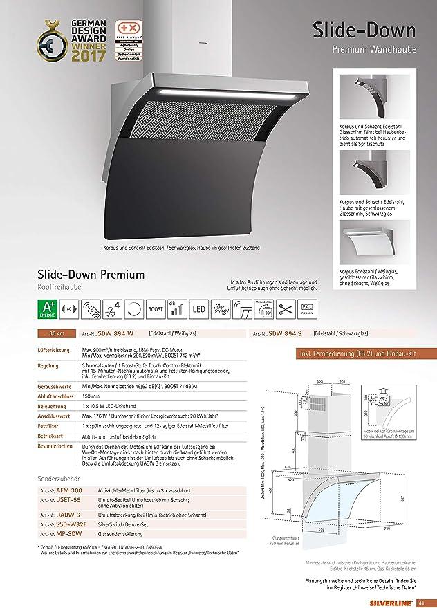 Silverline to the point Premium TPW 892 W/pared Campana/acero inoxidable/cristal/blanco/80 cm/cabeza libre/A +: Amazon.es: Grandes electrodomésticos