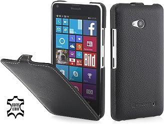 StilGut UltraSlim, Housse, étui, Coque en Cuir pour Microsoft Lumia 640 & Lumia 640 Double SIM (Compatible avec la Version Noire et Blanche), en Noir
