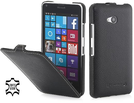 StilGut UltraSlim Case, Hülle aus Leder kompatibel mit Microsoft Lumia 640/640 Dual SIM (nur kompatibel mit schwarzer und wei