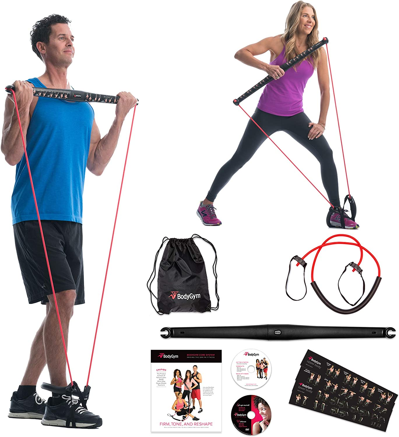 Amazon.com : Bodygym Core System Portable Home Gym - Resistance Trainer All-in-One Band + Bar Kit, Full Body Workout: Improve Fitness, Build Muscle, Strength Exercises with Marie Osmond Workout DVD Included :