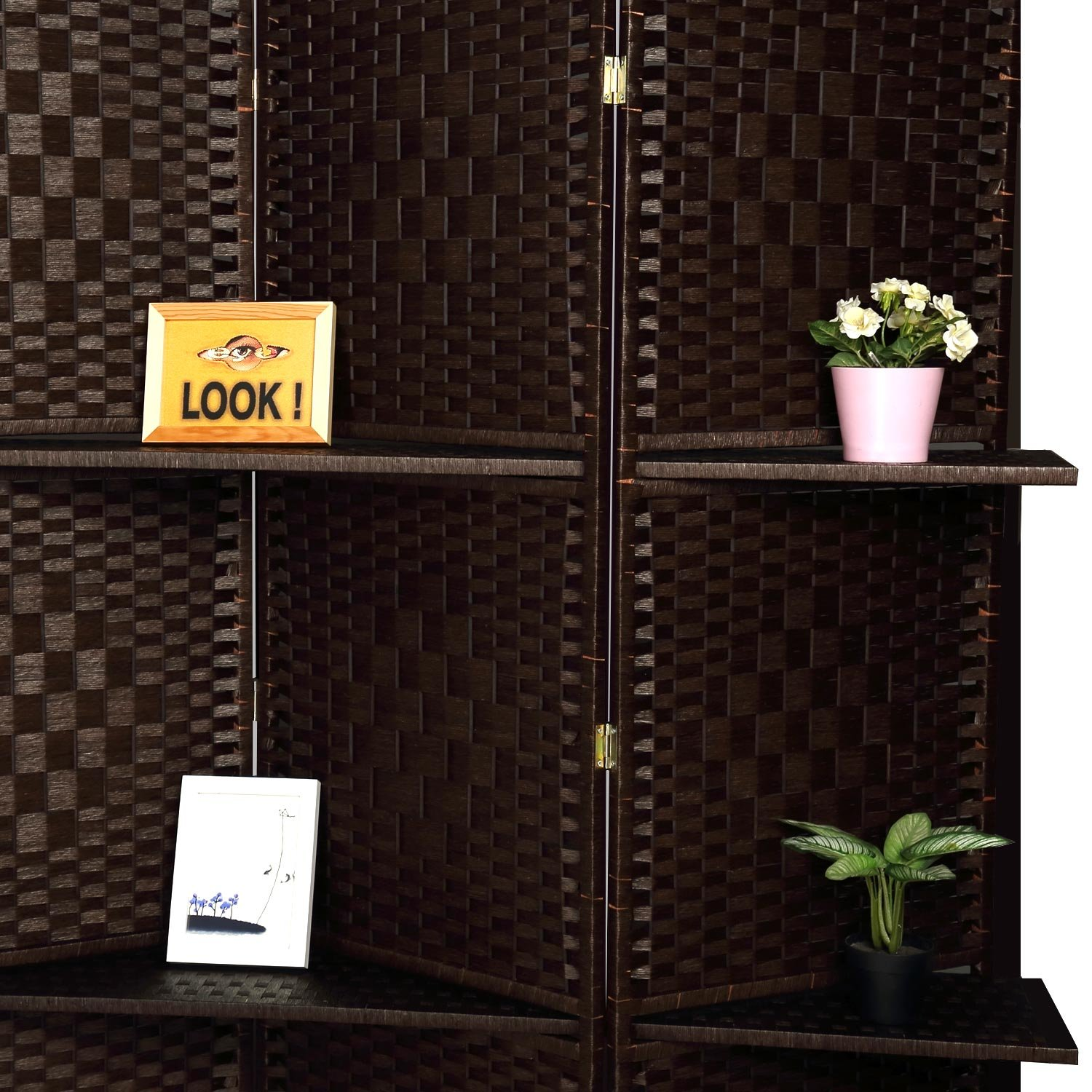 RHF 6 ft Tall (Extra Wide) Diamond Room Divider,Wall divider,Room dividers and folding privacy screens,Partition Wall, With 2 Display Shelves&room divider with shelves-DarkMocha-4 Panels 2 Shelves by Rose Home Fashion (Image #3)
