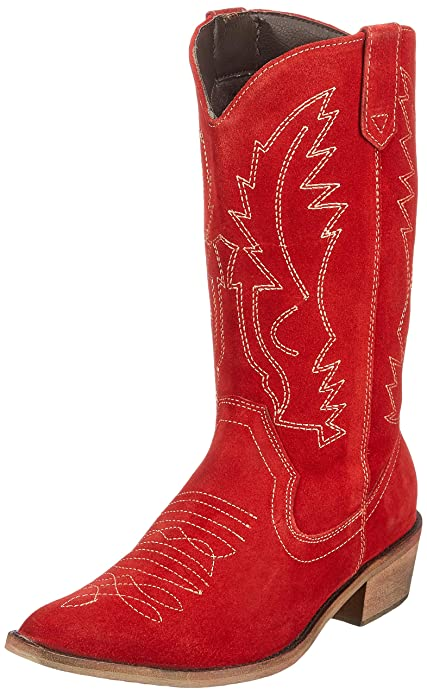 Occidentali Ladies Pelle Del Da Donna Punta In Stivali Cowboy Ampia IYf7gyb6vm