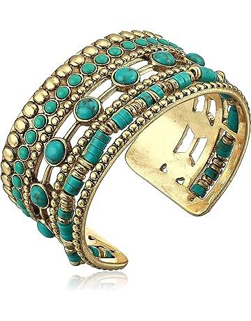 85ff56edb96 Lucky Brand Women's Turquoise Statement Cuff Bracelet, Gold, One Size