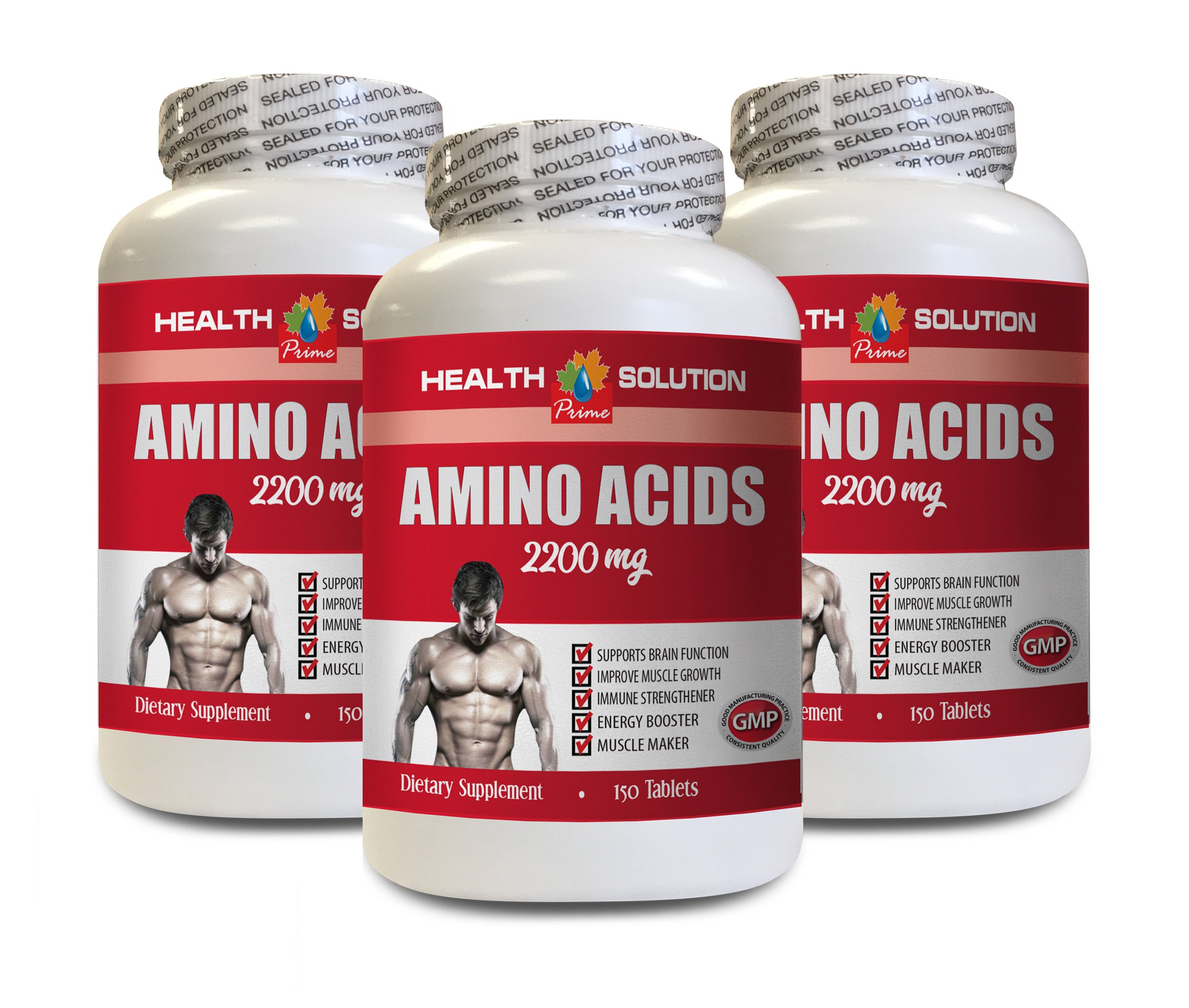 Muscle Building Formula - Amino Acids 2200 Mg - Muscle Maker - l-Lysine Supplement - 3 Bottles 450 Tablets