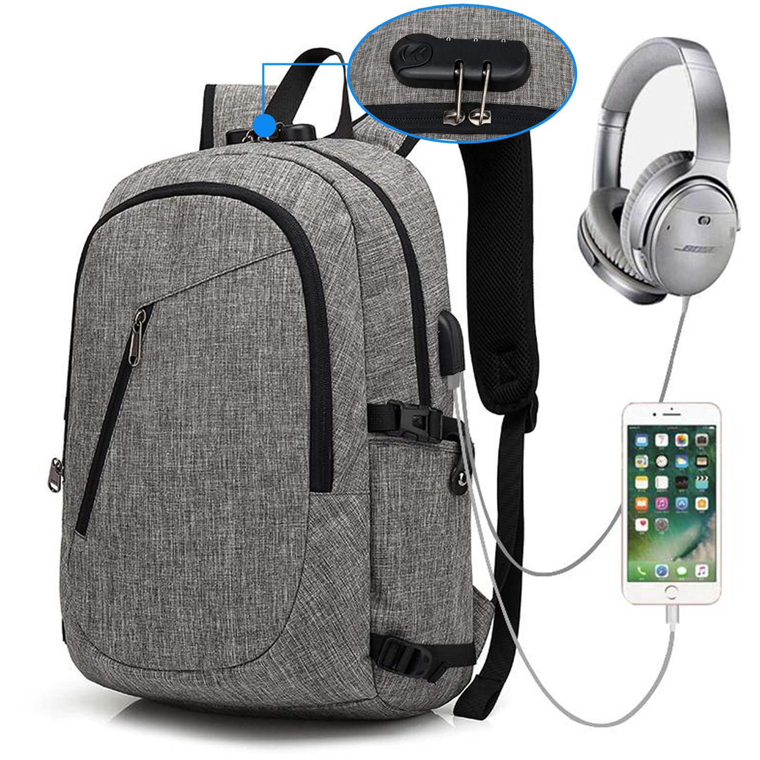 XQXA Laptop Backpack,College School Bag with USB Charging Port and Headphone Jack Water Resistant School Rucksack 15.6 Inch PC Computer Backpack Bags for Business,Work,Travel Rucksack Bookbag Grey