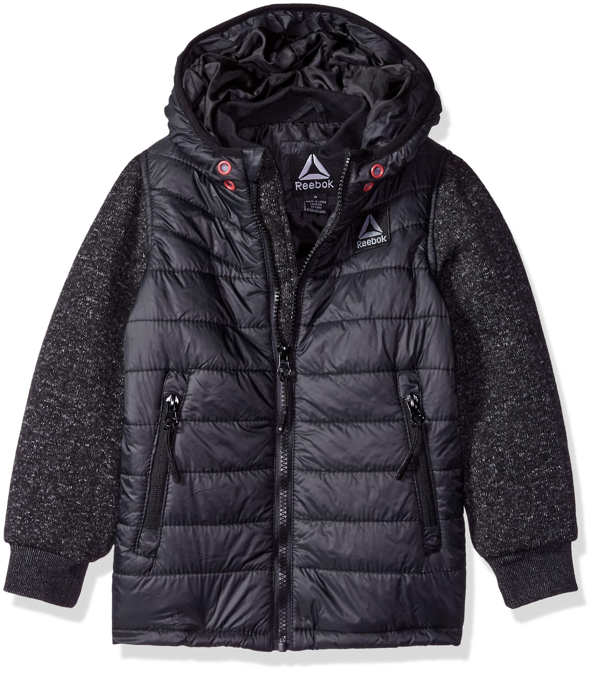 Reebok Boys' Toddler Active Sweater Fleece Mix Jacket, Black Heather, 4T