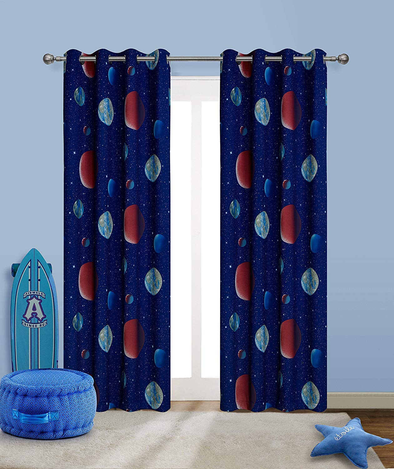 2 Panels Black W52 x L63 Inches Grommet Thermal Insulated Window Curtains Anjee Black Blackout Curtains with Silver Star Print for Kids Room