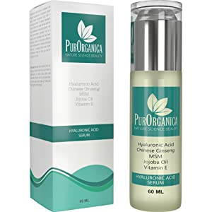 PurOrganica HYALURONIC ACID Face Serum - HUGE 60 ML BOTTLE - The Best Anti Ageing & Anti Wrinkle Serum - This Premium Organic Serum Will Plump, Hydrate & Brighten Skin While Filling In Those Fine Lines & Wrinkles - It Works or Your Money Back Guarantee
