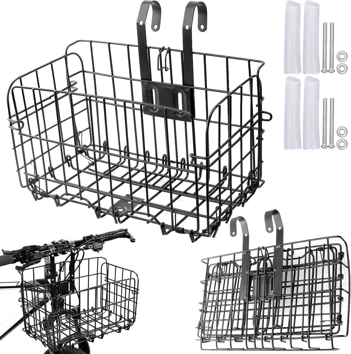 2PCS Folding Rear Bike Basket, Heavy Duty Wire Mesh Bicycle Basket with Handle Easy Install to Front Handlebar or Rear Rack, 66lbs Capacity Bicycle Bag Cargo Rack for Commuter Grocery Shopping, Black