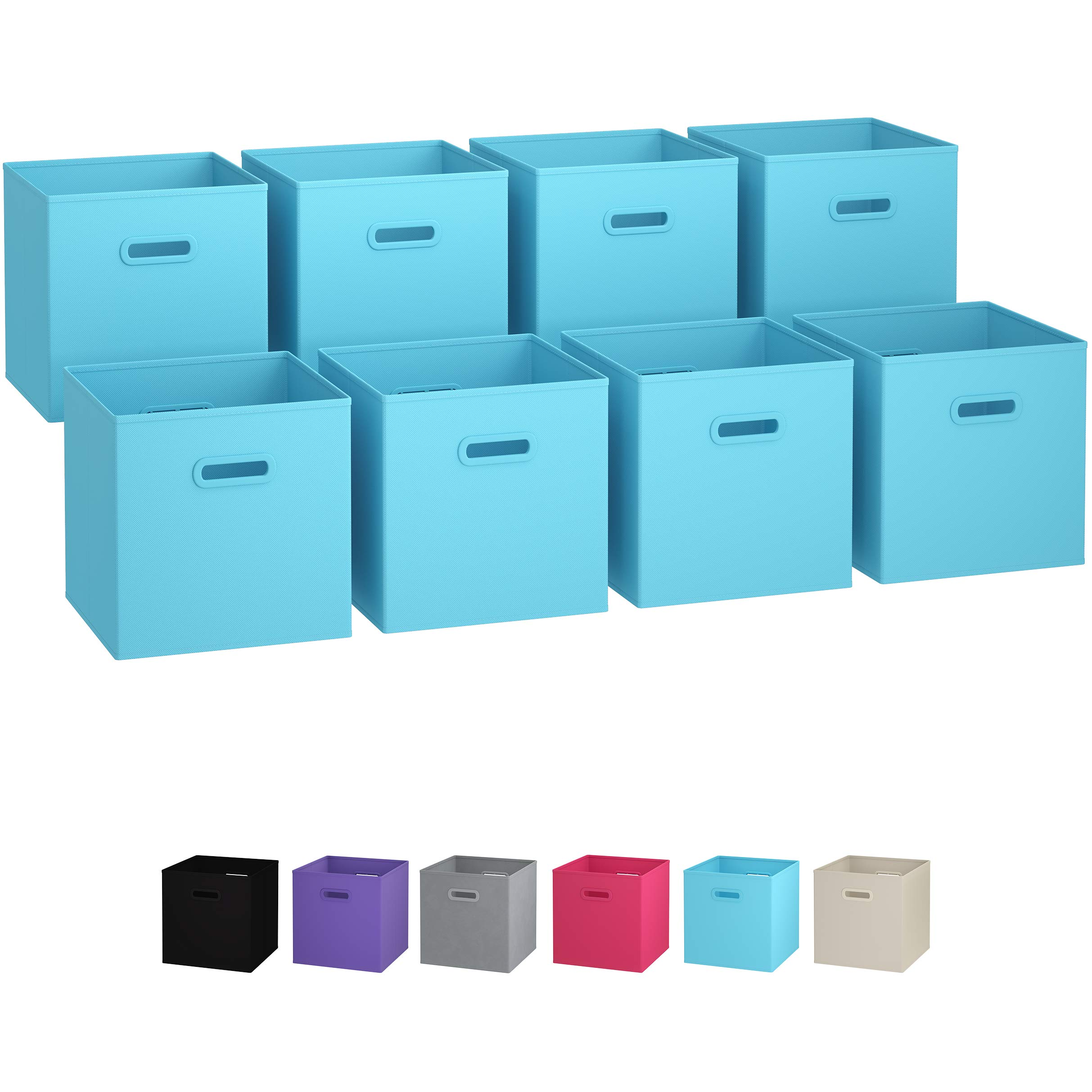 Royexe - Storage Cubes - (Set of 8) Storage Baskets | Features Dual Handles | Cube Storage Bins | Foldable Fabric Closet Shelf Organizer | Drawer Organizers and Storage (Blue)