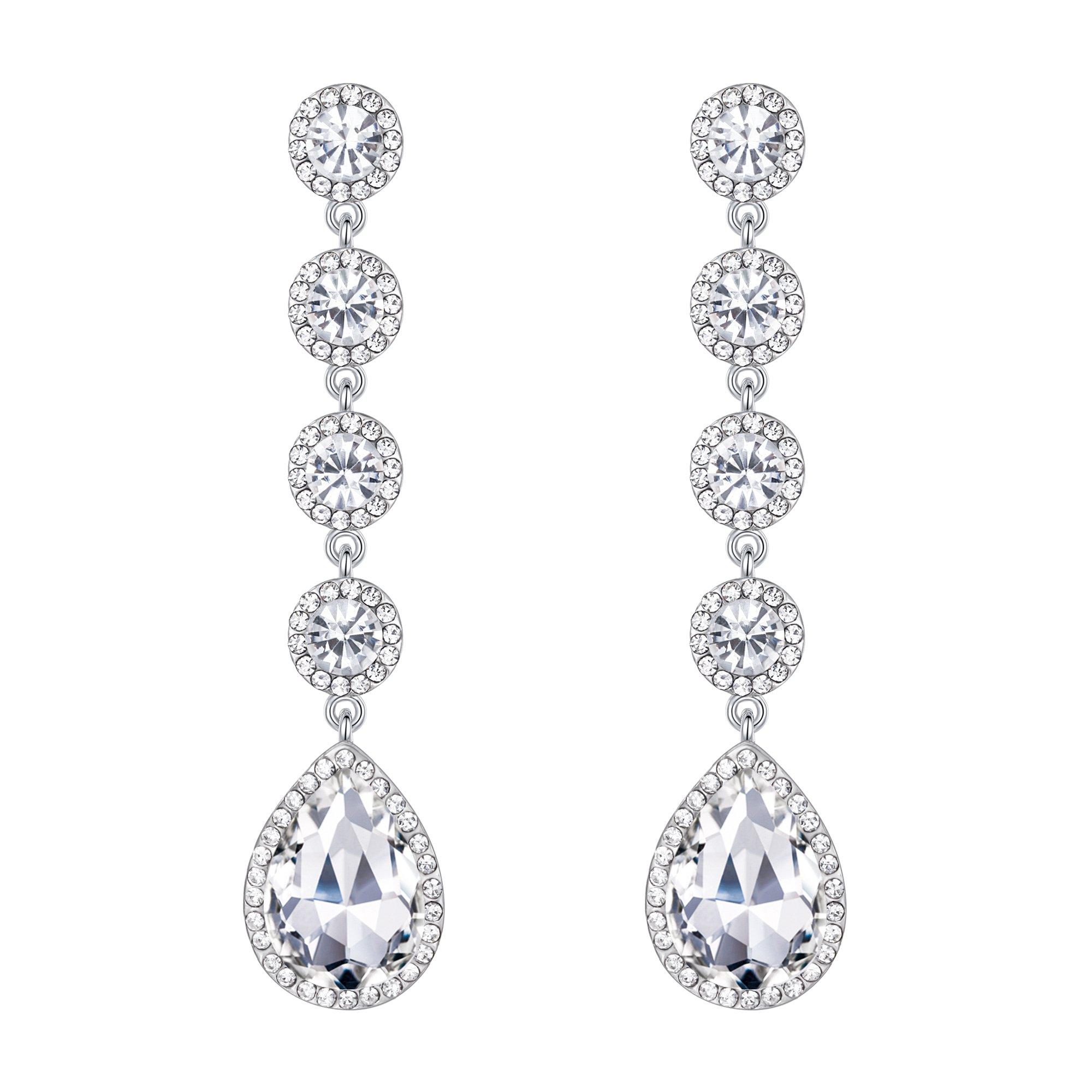 BriLove Silver-Tone Dangle Earrings for Women Wedding Bridal Elegant Crystal Teardrop Chandelier Earrings Clear