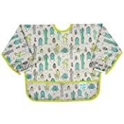Bumkins Sleeved Bib / Baby Bib / Toddler Bib / Smock, Waterproof, Washable, Stain and Odor Resistant, 6-24 Months - Cactus