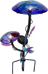 "Trademark Innovations 12"" Solar Mushroom Garden Stake with Dragonfly Design (Purple)"