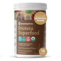 Amazing Grass Protein Superfood: Vegan Protein Powder, All-in-One Nutrition Shake, Rich Chocolate, 10 Servings
