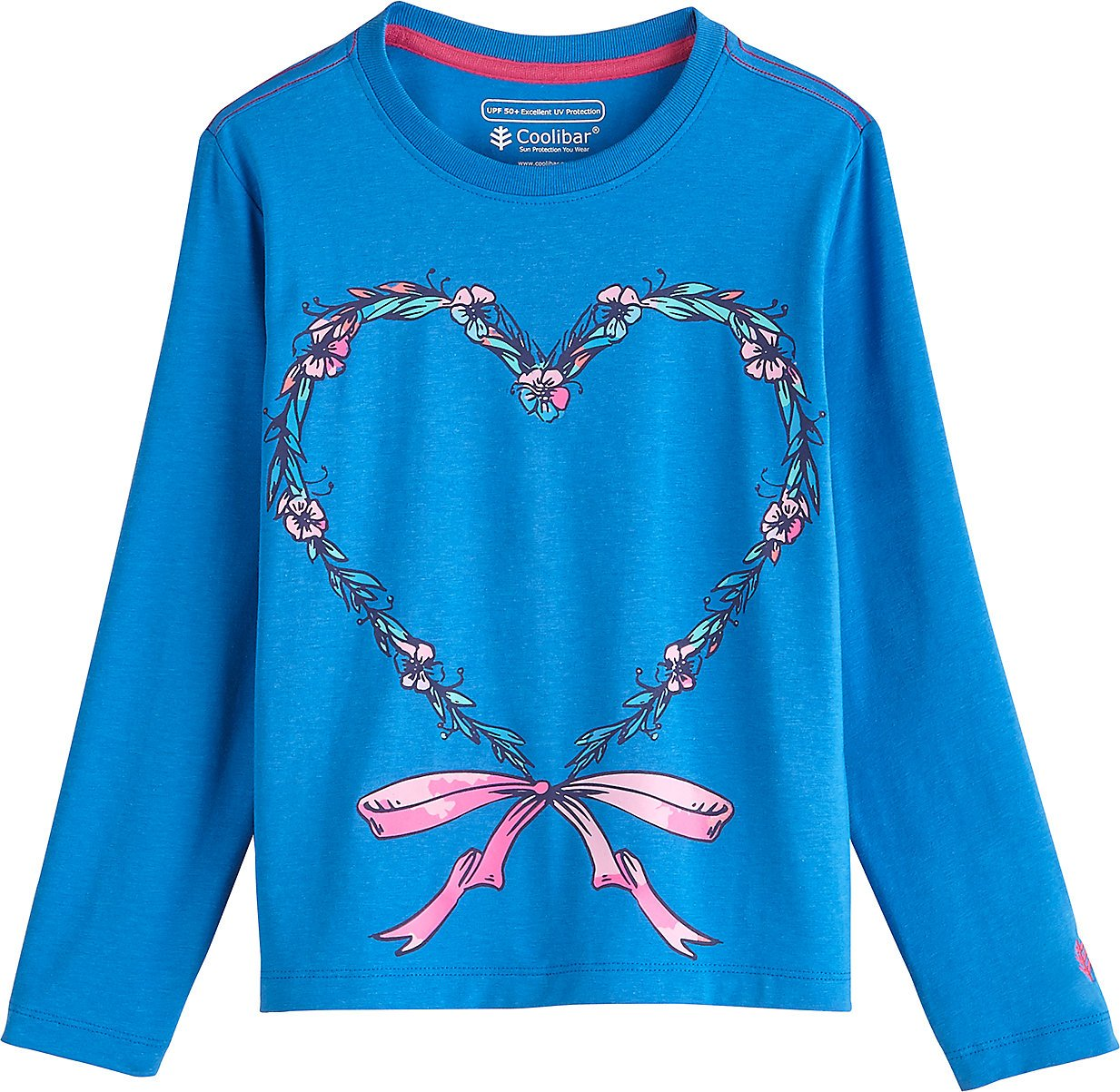 Coolibar UPF 50+ Kids' Long Sleeve Everyday Graphic T-Shirt - Sun Protective (Small- Brilliant Blue Heart with Bow)