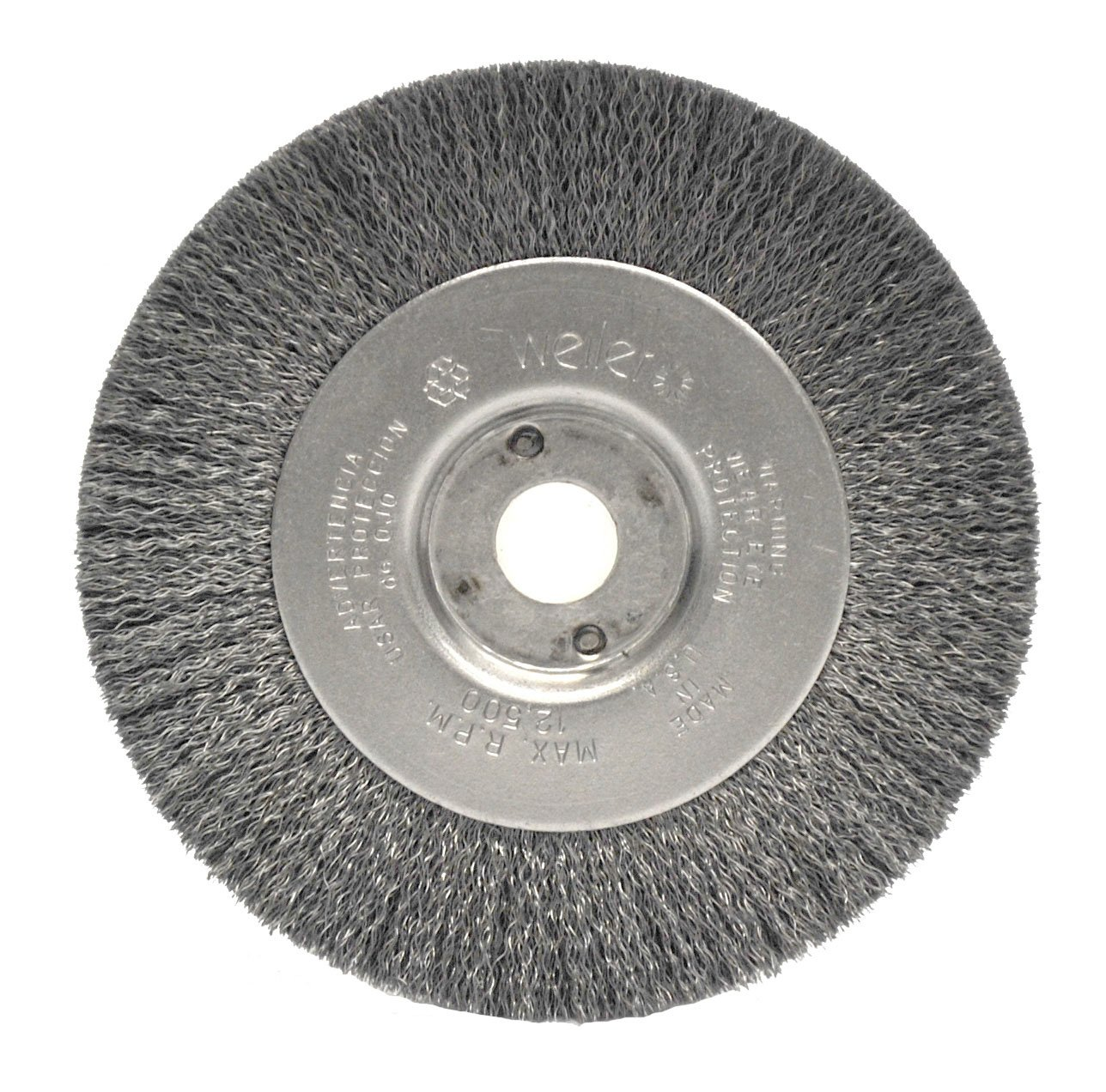 Weiler 0154 Narrow Face Crimped Wire Wheel, 4'', 0.06'' Stainless Steel Fill, 1/2''-3/8'' Arbor Hole (Pack of 2)