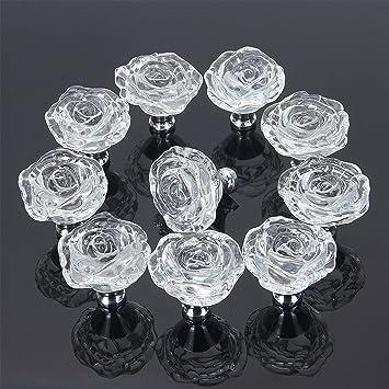 Elegant Furniture Pull Wardrobe Door Handles Rose Crystal Drawer Cabinet Knobs