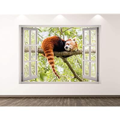 "West Mountain Red Panda Wall Decal Art Decor 3D Window Animal Sticker Mural Kids Room Custom Gift BL183 (22"" W x 16"" H): Home & Kitchen"