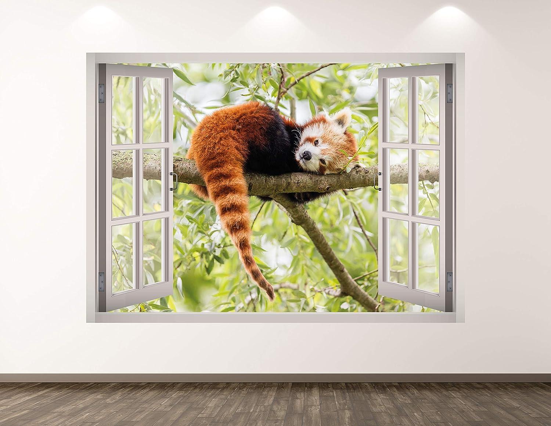 "West Mountain Red Panda Wall Decal Art Decor 3D Window Animal Sticker Mural Kids Room Custom Gift BL183 (22"" W x 16"" H)"