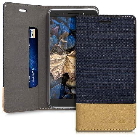 super popolare 897ce 4fa35 kwmobile Huawei Honor 7 / Honor 7 Premium Cover Flip - Custodia a Libro in  Pelle PU e Tessuto - Stand Case Protettiva con Supporto per Huawei Honor 7  ...