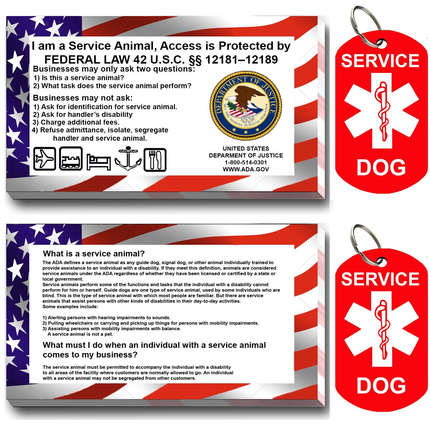 Service Dog ID Tag Kit, 50 Double Sided ADA Info Cards and 2 Premium Aluminum Double Sided Dog Tags