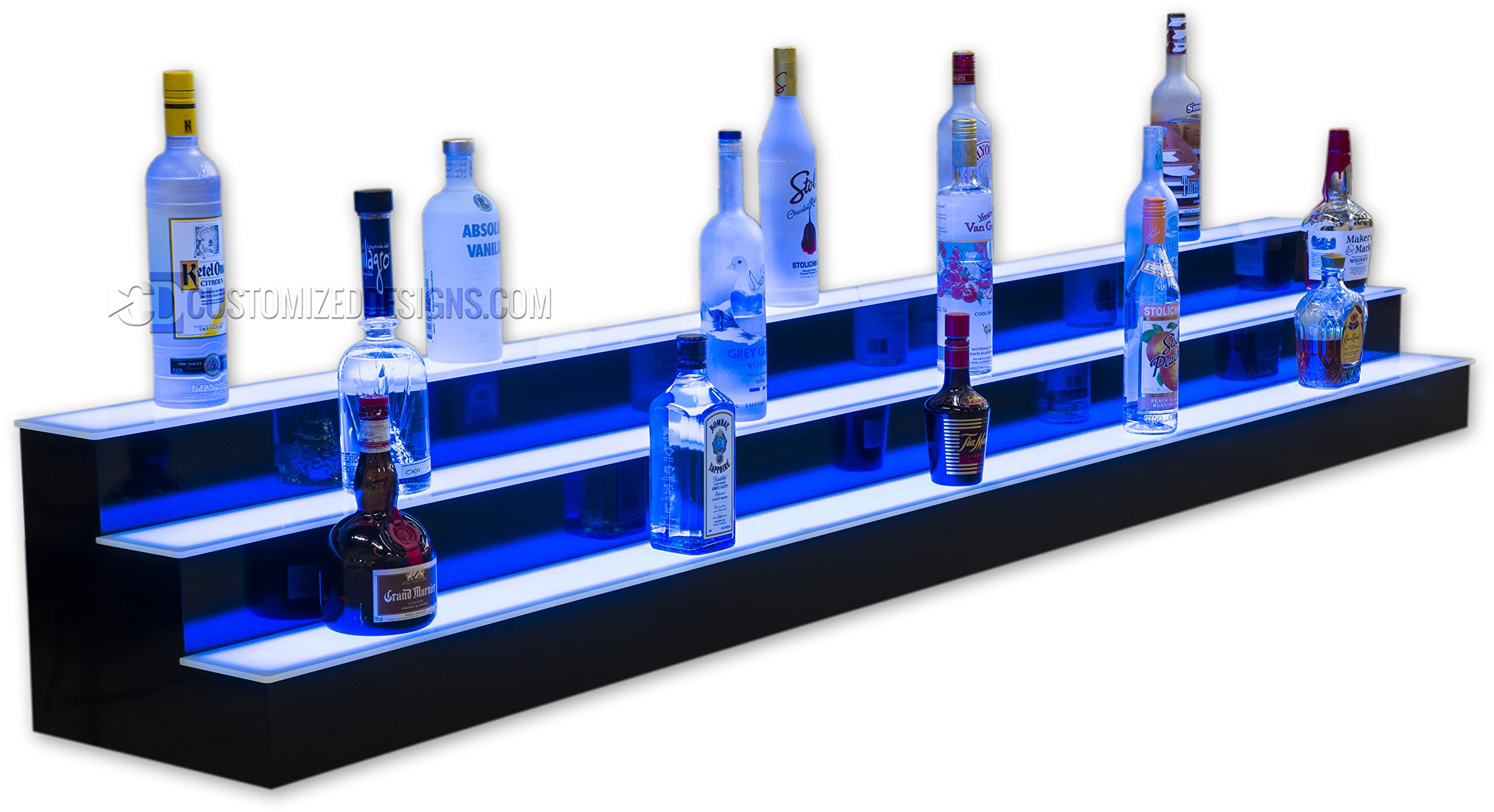 96'' 3 Tier Lighted Commercial Grade Back Bar Liquor Bottle Shelving with lights
