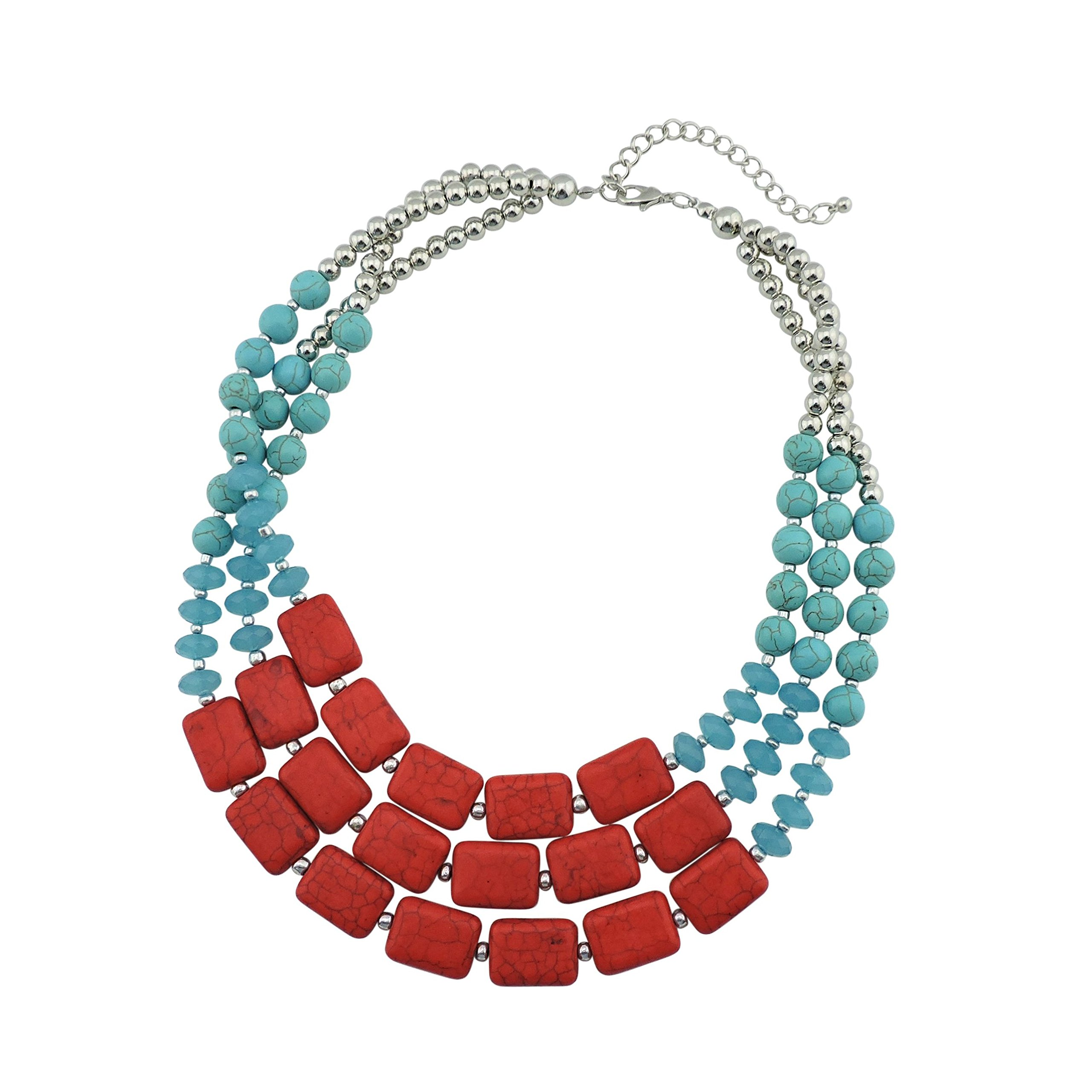 Bocar Statement Strand Turquoise Colorful Chunky Necklace for Women Gifts (NK-10268-turquoise+red)
