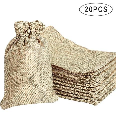 Noverlife 20 bolsas de arpillera con cordón, bolsas de lino ...