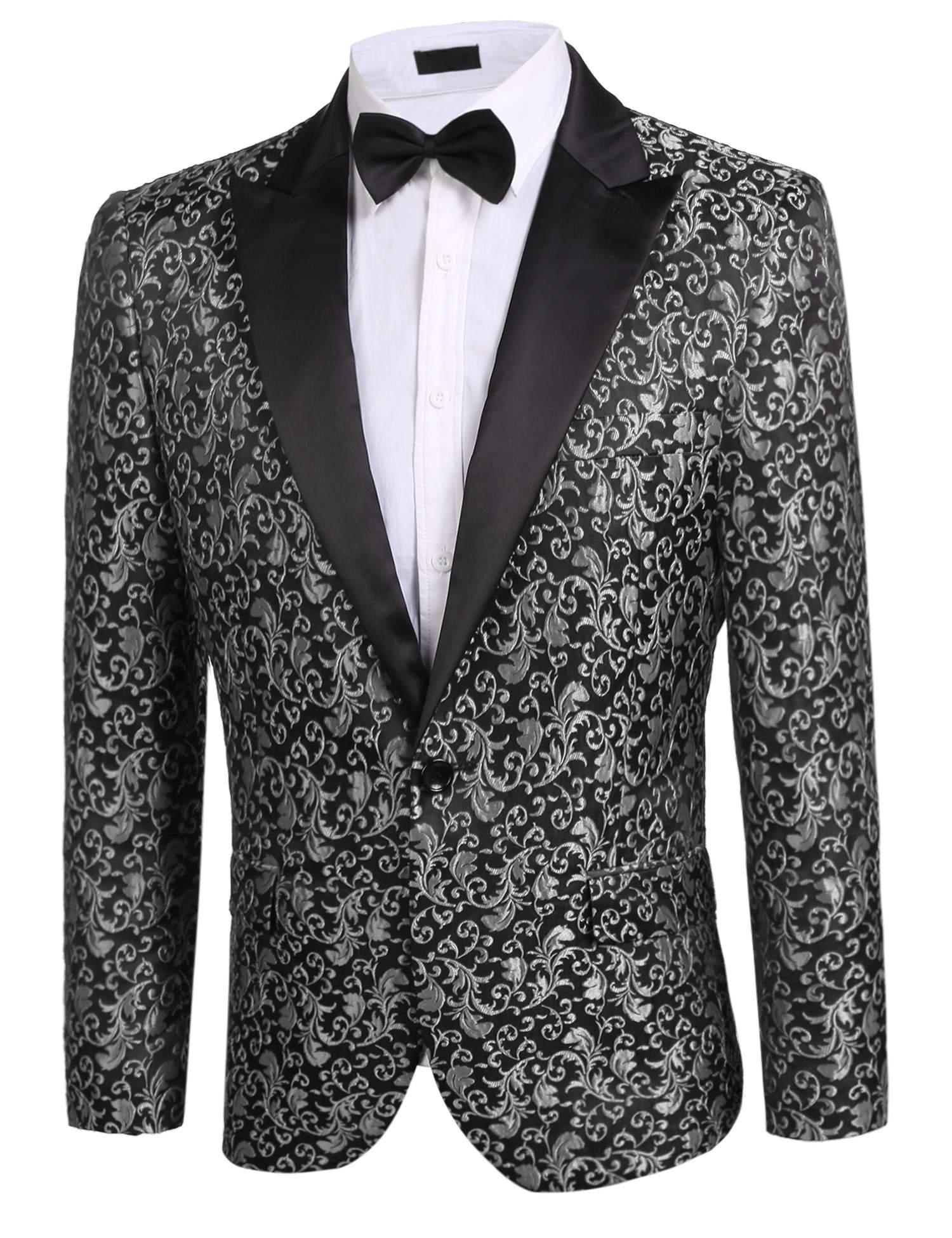 Donet Men's Floral Party Dress Suit Notched Lapel Stylish Dinner Jacket Wedding Blazer Prom Tuxedo Gray XX-Large