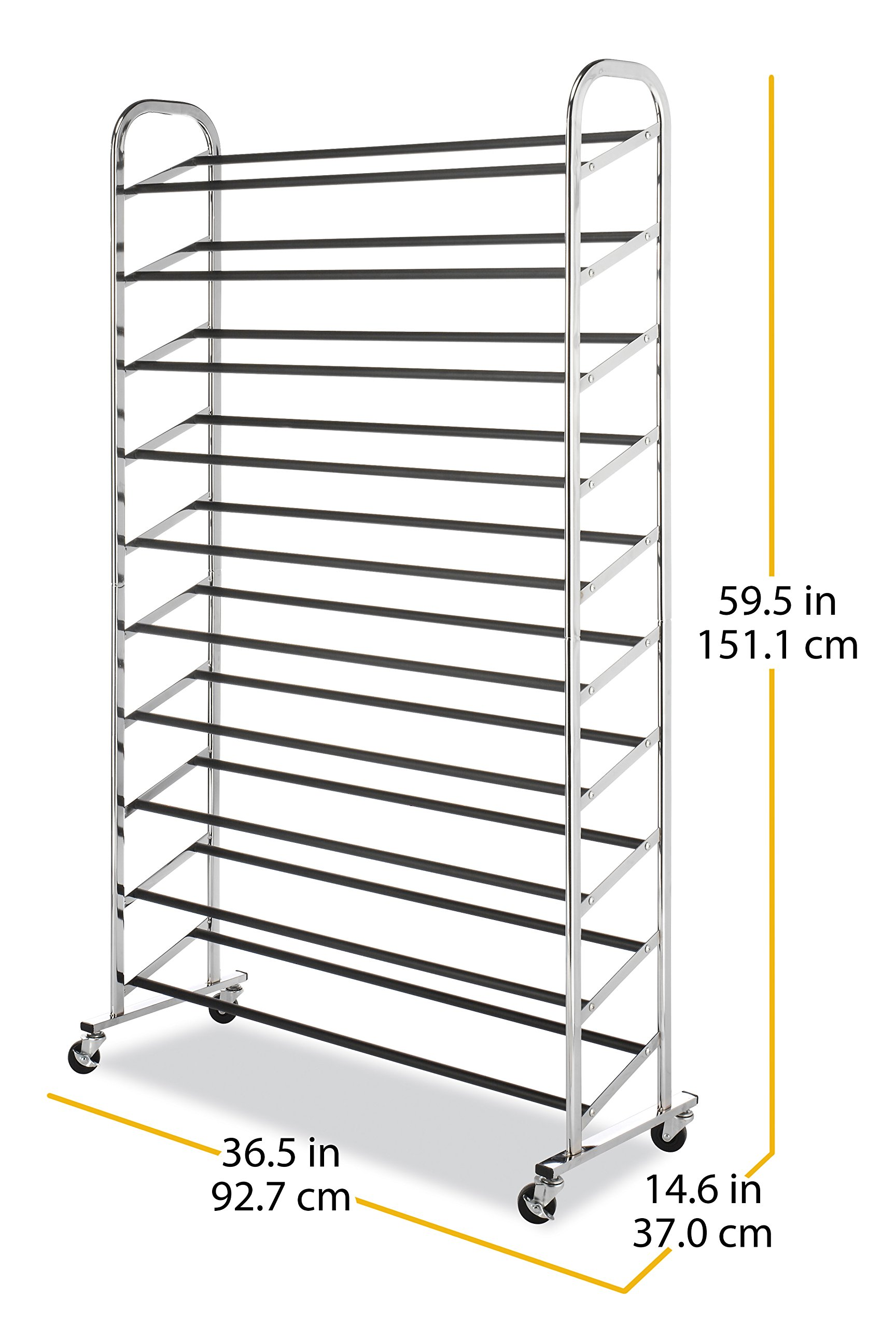 Whitmor 10 Tier Shoe Tower - 50 Pair - Rolling Shoe Rack with Locking Wheels - Chrome by Whitmor (Image #6)