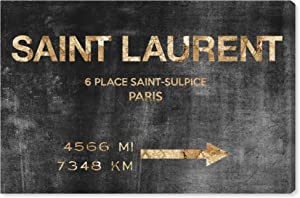 """The Oliver Gal Artist Co. Fashion and Glam Wall Art Canvas Prints 'Saint Sulpice Road Sign' Home Décor, 15"""" x 10"""", Black, Gold"""