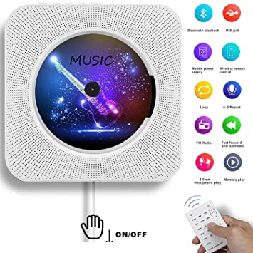 AONCO Portable CD Player, Bluetooth Wall Mountable CD Music Player Home  Audio Boombox with Remote Control FM Radio Built-in HiFi Speakers, MP3