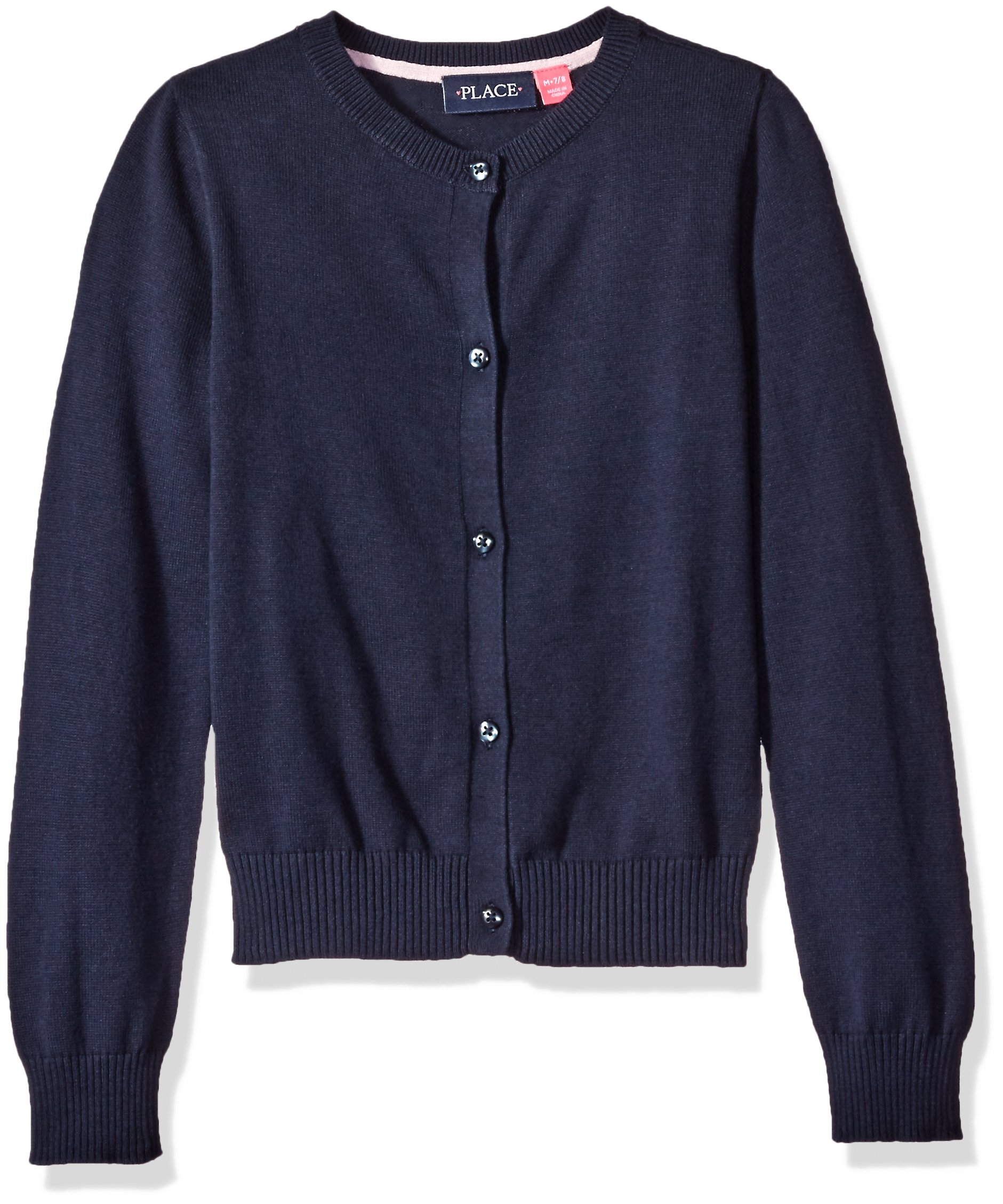 The Children's Place Big Girls' Uniform Cardigan Sweater, Tidal 4422, Medium/7/8