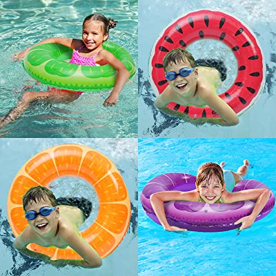 Inflatable Pool Floats 3 Pack Swim Tubes Rings 32.5 Inflatable Fruit Pool Tubes Beach Pool Swimming Party Fun Water Toys Inner Tube for Kids Adults Party Supplies