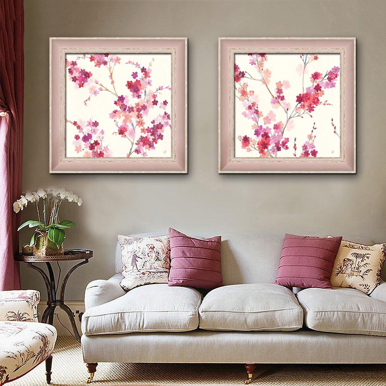 額装キャンバス絵画アート小さなピンクの花絵画キャンバスプリント壁の芸術家の装飾の装飾 (60x60cmx2pc) B06ZXR6ZGY 60x60cmx2pc 60x60cmx2pc